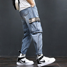 Mens tooling jeans 2019 summer new Japanese loose style nine points young people fashion trend mens clothing