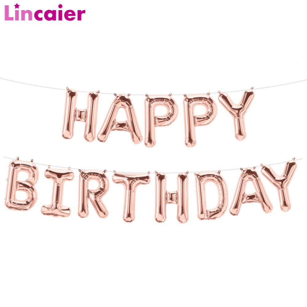 Lincaier 16 inch Happy Birthday Foil Balloons Baby Boy Girl First Birthday 1st One Party Decoration Garland Kids Adult Unicorn-in Banners, Streamers & Confetti from Home & Garden
