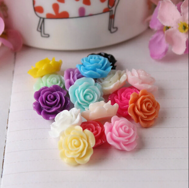 15MM RESIN ROSE FLOWER CABOCHONS BEADS FLAT BACK DIFF COLOUR 1 or 5 pices