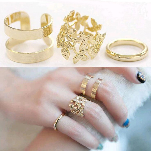 3pcs/ lot Fashion Vintage Punk Style Metal Gold/Silver Plated Leaf Above Knuckle