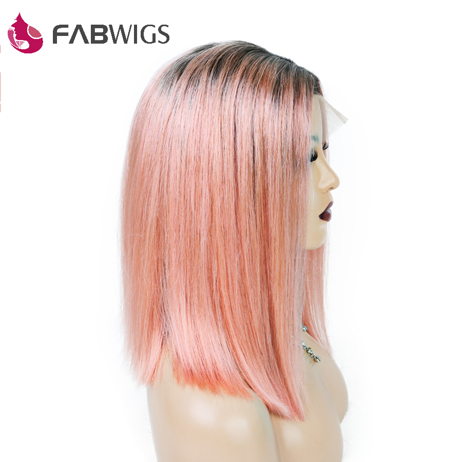 Fabwigs 250 Density 1B Pink BOB Wig Lace Front Wigs with Baby Hair European Pre Plucked