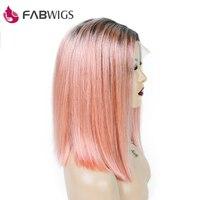 Fabwigs 250% плотность 1B/розовый парик Боб Синтетические волосы на кружеве парики с ребенком волос европейских предварительно сорвал короткие п