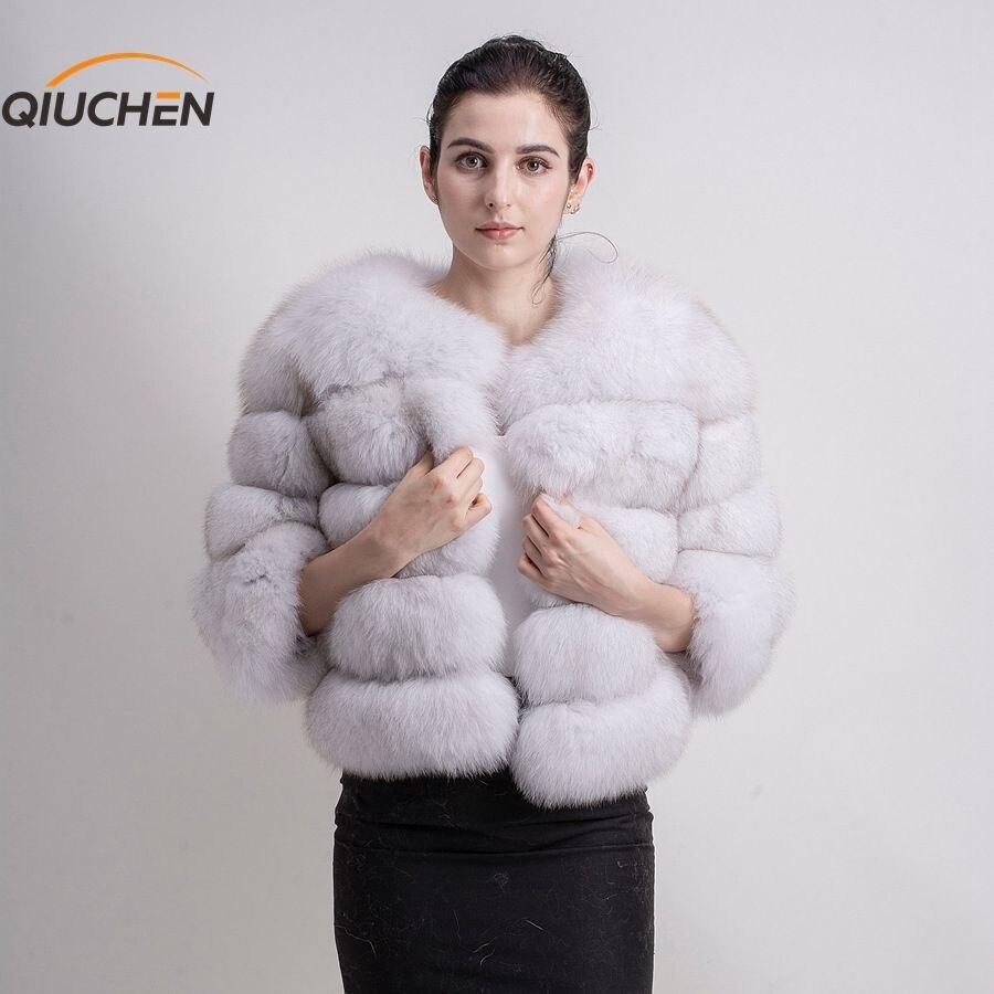 QIUCHEN PJ1801 Nouvelle arrivée LIVRAISON GRATUITE nouvelle arrivée femmes réel fourrure de renard manteau fluffy hiver outwear de mode filles manteau grandes fourrure