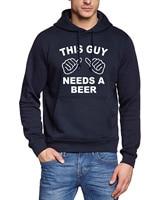 2017 Brand Tracksuits Black White Sweatshirt Men Fleece Bodybuilding Pullovers THIS GUY NEEDS A BEER Hoodies