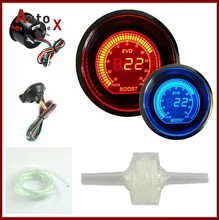 2 52mm EVO LCD Digital Boost Turbo font b Gauge b font With Turbo Sensor Red