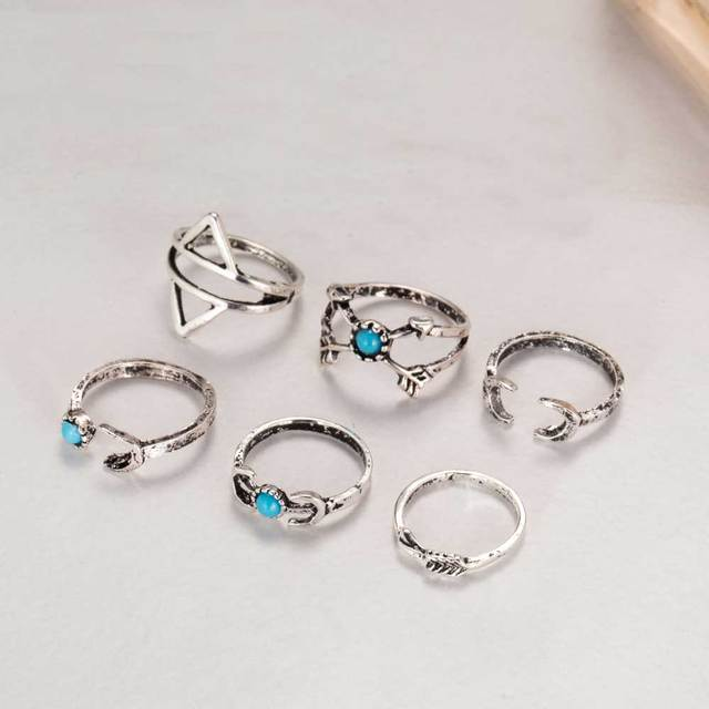 New, 6 pcs /set Turkish vintage beach punk moon arrow ring set antique silver carved ethnic Boho midi ring finger knuckle