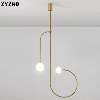 Итальянский дизайнер минималистский железная линия подвесные светильники ресторан столовая гостиная Подвесная лампа домашний декор прик...
