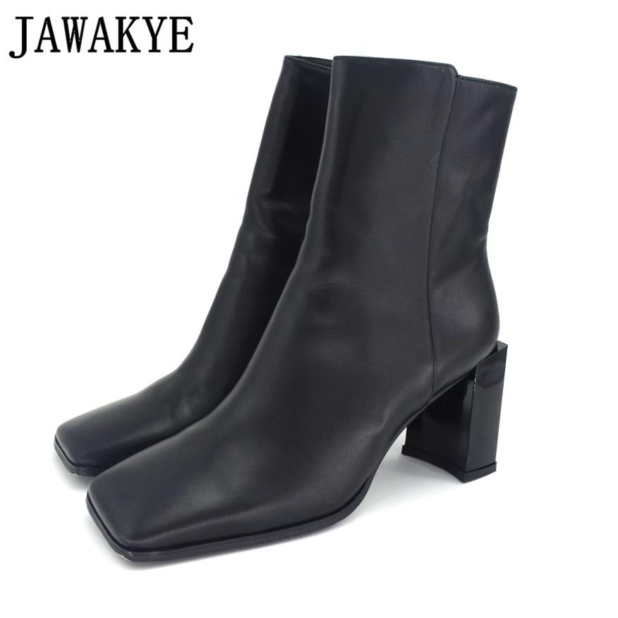 Ridée Cheville Show Jawakye Pour as Piste Wrinkled Carré Courtes Qualité Date Femmes Cuir Haute Chaussures Véritable white Style Black Bottes Talons Bout En 8X0wPkOn