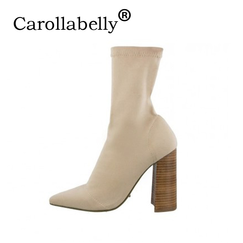 Carollabelly 2018 Western Style Women Boots Over The Ankle Boots Square High Heel Ladies Fashion Boots Size 33-40