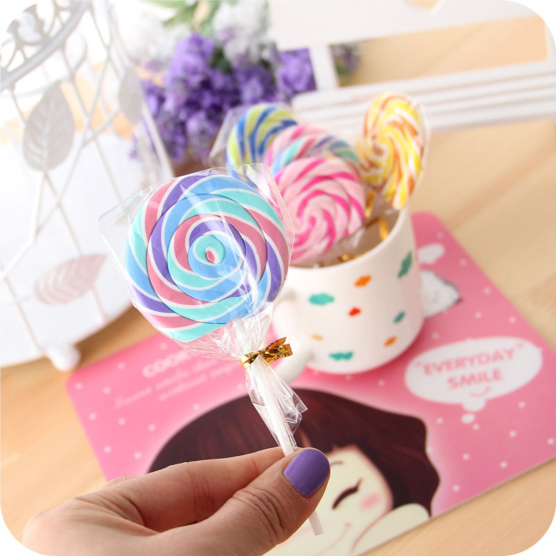 Hot Sale Cute Kawaii Cartoon Lollipop Rubber Erasers For Kids Lovely Creative Stationery Gift Wholesale Free Shipping