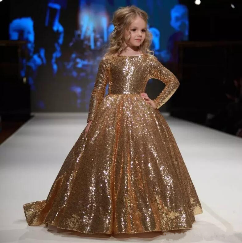 Romantic Gold Sequins Long Sleeve Flower Girl Dress for Weddings Organza Ball Gown Girl Party Communion Dress Pageant Gown fashionable flower spliced sequins embellish sleeveless girl s bowknot design mini ball gown dress