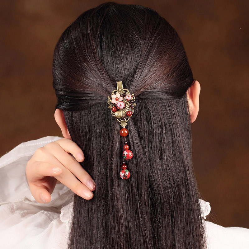 Bronze Hair Clip Alloy Hair Pin Carved Hair Accessories New Chinese Style Clip