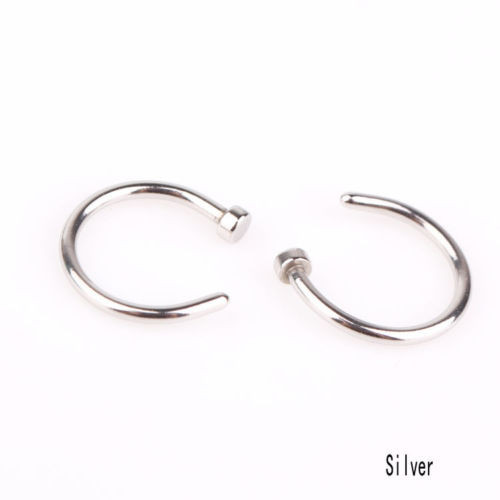 HTB1WOy7KVXXXXXYXpXXq6xXFXXX9 Unisex Body Piercing Jewelry 2-Pieces Stainless Steel Nose Hoop Rings - 5 Styles