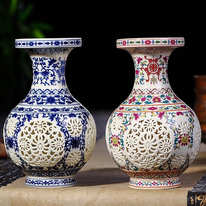 Antique Jingdezhen ceramic vase Chinese Pierced  vase  wedding gifts home handicraft furnishing articles vase
