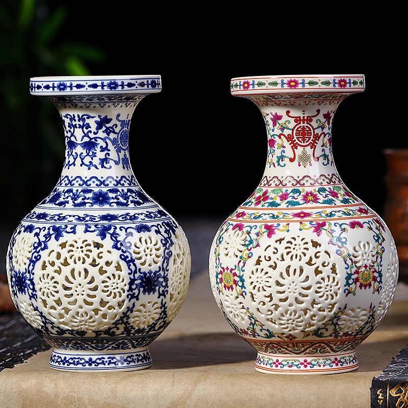 Antik Jingdezhen Keramik Vas Cina Ditindik Vas Pernikahan Hadiah Rumah Kerajinan Furnishing Artikel