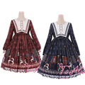 Royal Trojan Horse Print Cute Women's Lolita Dress Winter Long Sleeve Empire Waist Chiffon Sailor Collar One Piece Wine & Navy