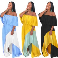 Plus Size Women Sexy Slash Neck Chiffon Long Pleated Dress 2019 Sleeveless Bateau Long Dress Casual Beach Party Maxi Dresses