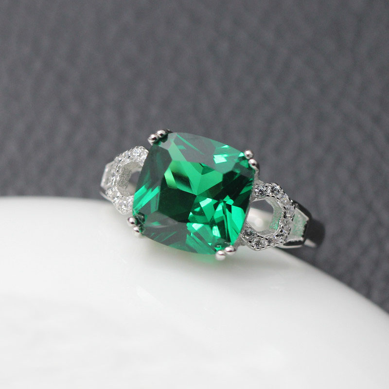 925 Sterling Silver Square Shape Emerald Gemstone Ring hE887sIo8