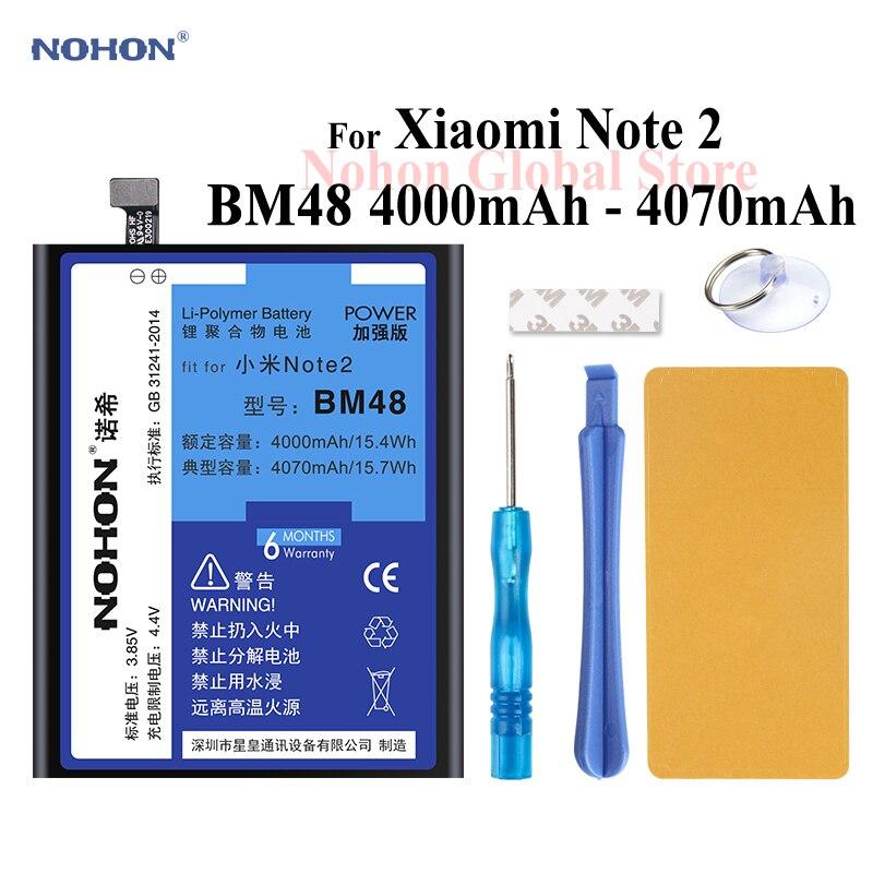 Nohon Battery For Xiaomi Note 2 BM48 4000mAh 4070mAh Mi Note2 built-in High Capacity Bateria Phone Li-polymer Batteries + Tools