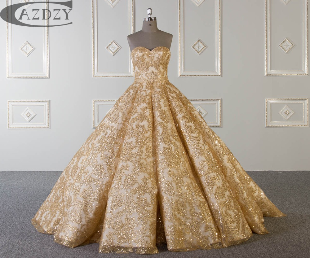 Cazdzy Gold Shining Strapless Wedding Dress Bridal Gown