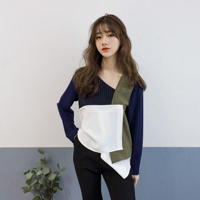 [XITAO] 2017 nova primavera projeto original irregular retro feminino de todos os jogo Com Decote Em V cor patchwork manga longa Camisetas MD004