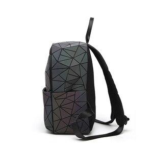 Image 3 - Sac à dos à bandoulière géométrique pour femmes, sacoche pour école pour adolescents, lumineux, sacoche Laser, nouvelle collection