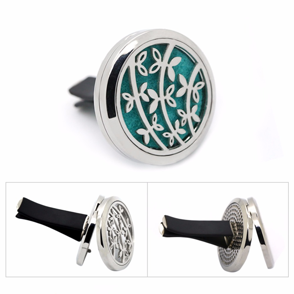 30mm Silver Magnet Round Flower Essential Oil Car Diffuser Locket Stainless Steel Aromatherapy Car Perfume Oil Locket Vent Clip in Pendants from Jewelry Accessories