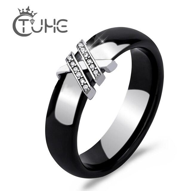2017 модное здоровое ювелирное изделие с блестящим цирконием AAA крест женское кольцо черно-белые керамические кольца для женщин подарок на по...