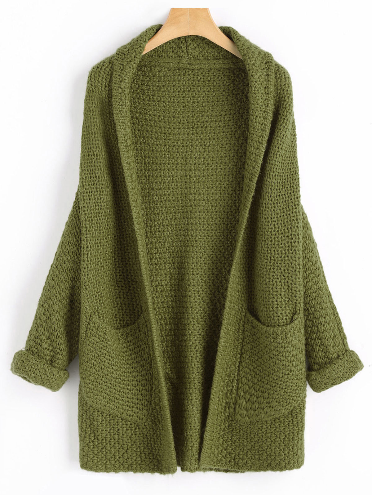 Gamiss Open Front Curled Sleeve Batwing Cardigan Women Autumn Winter