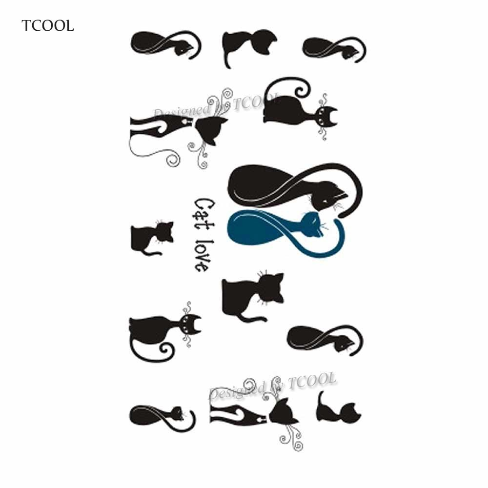 HXMAN Cat Temporary Tattoo Sticker Waterproof Women Men Fake Body Art Tattoos New Design 10.5X6cm Kids Hand Tatoo A-037