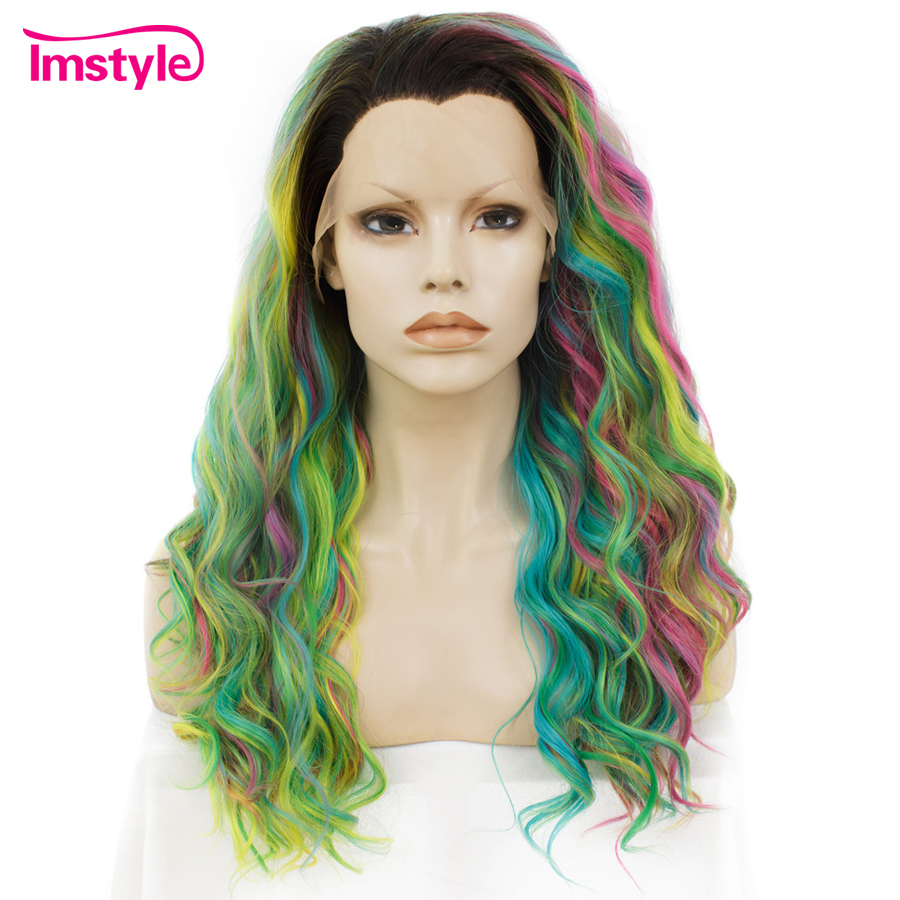 Imstyle Rainbow Green Wig Synthetic Lace Front Wigs Deep Wave Colorful Wigs For Women Heat Resistant