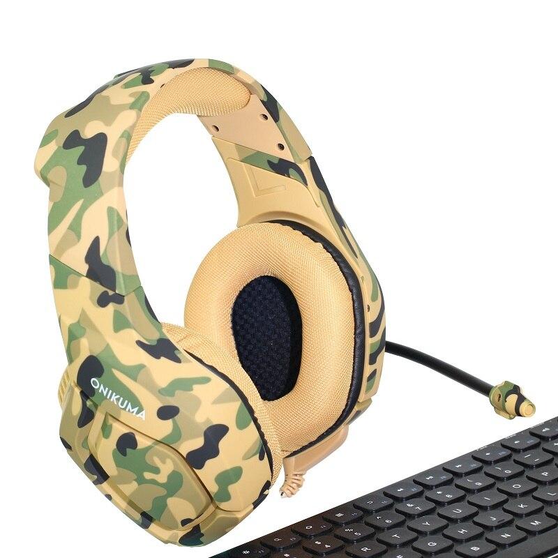 ONIKUMA K1 profunda Bass auriculares para juegos de camuflaje de cancelación de ruido auriculares Gaming auriculares para PC teléfono celular Xbox un ordenador portátil