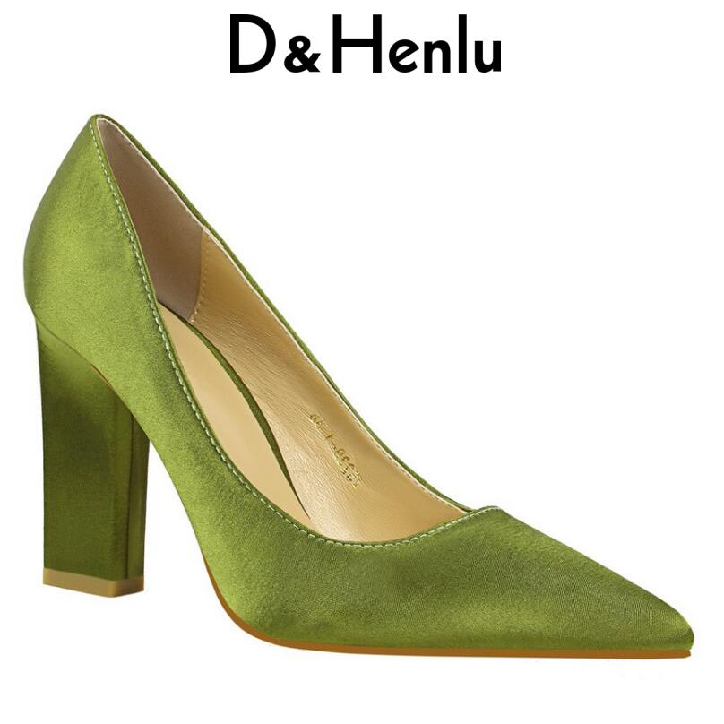 D&Henlu Valentine Pumps Shoes Brand Women's Sexy Square Heel Pumps Pointed Toe Thick Heel High Heels Wedding Shoes Woman Heels 2018 women yellow high heel pumps pointed toe metal heels wedding heel dress shoes high quality slip on blade heel shoes
