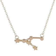 Wholesale 10Pcs New Zodiac Sign Star Astrology Pendant Constellation Mix Color Women Link Chain Simple Science Jewelry