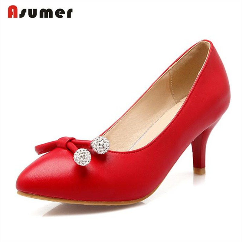 Asumer Pumps high thin heels shoes poined toe elegant wedding shoes large size 33 43 pu