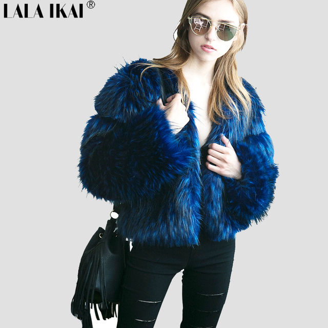77e916959e9 Winter Fluffy Long Hair Women Faux Fur Coat Black Blue Solid Color Plus Size  2XL 3XL Ladies Outfits Warm Fur Jacket SWQ0385-45