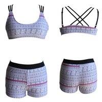 Ladies Sexy Bikini Set Retro Printed Three Pieces Suit Halter Padded Top Boxer Briefs Beach String