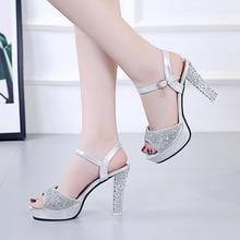 2019 summer new ultra high heel with rhinestone sexy nightclub gold and silver shiny fish mouth female sandals цены онлайн