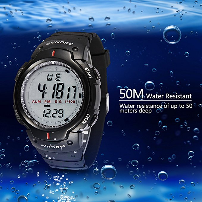 BOUNABAY WR50M VÄNSTER vattentät digital armé armbandsur armbandsur klocka automatisk klocka datumjust oyster militär vagn klockor