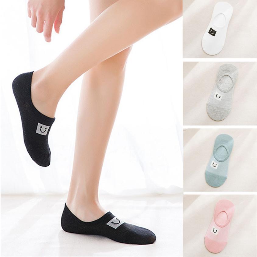 Fashion Women Socks Casual Work Business Cotton Smiley Series Fashion black Sock Comfortable summer tops for women 2018