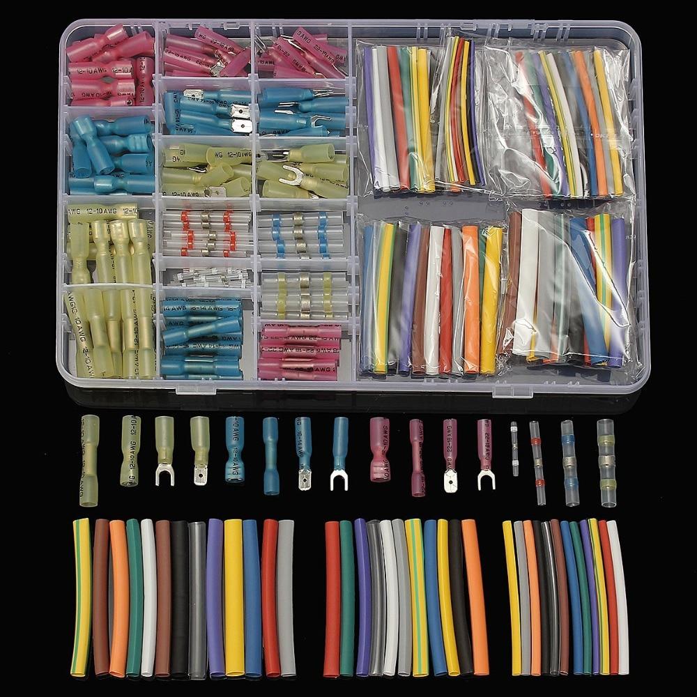 150 PCS Crimp Terminals Butt connectors & 144 PCS 2:1 Heat Shrink Tubing Assorted Insulation Shrinkable Sleeving Tubes Kit