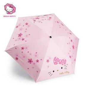 Image 5 - Hello Kitty Cartoon Lovely Girl Womens Umbrella Pocket Mini  Fold Too Parasol Portable Five Folding Regenschirm Sunshade