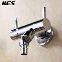 KES K1011A B C D BRASS Bid Tap 1 2 Double Outlets Separate Control Wall Mount