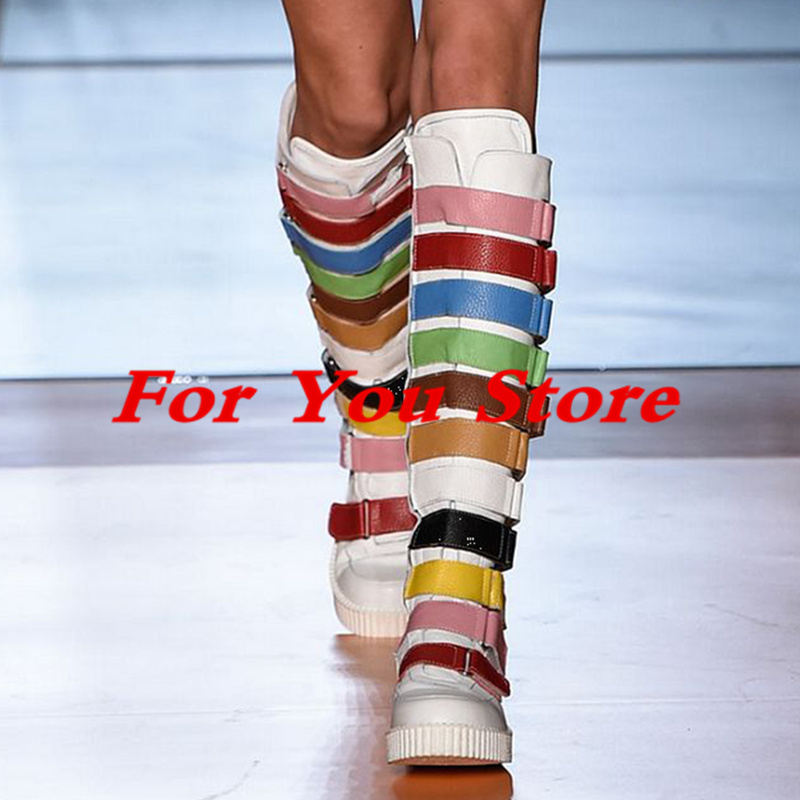 Luxury Brand Super Star Runway Boots Rainbow Color Long Booties Buckle Decor Side Zip Shoes Round Toe Knee High Hot Winter Boots miquinha round toe women boots mixed color short booties luxury brand women cool runway fashion star high heel boots buckle shoe