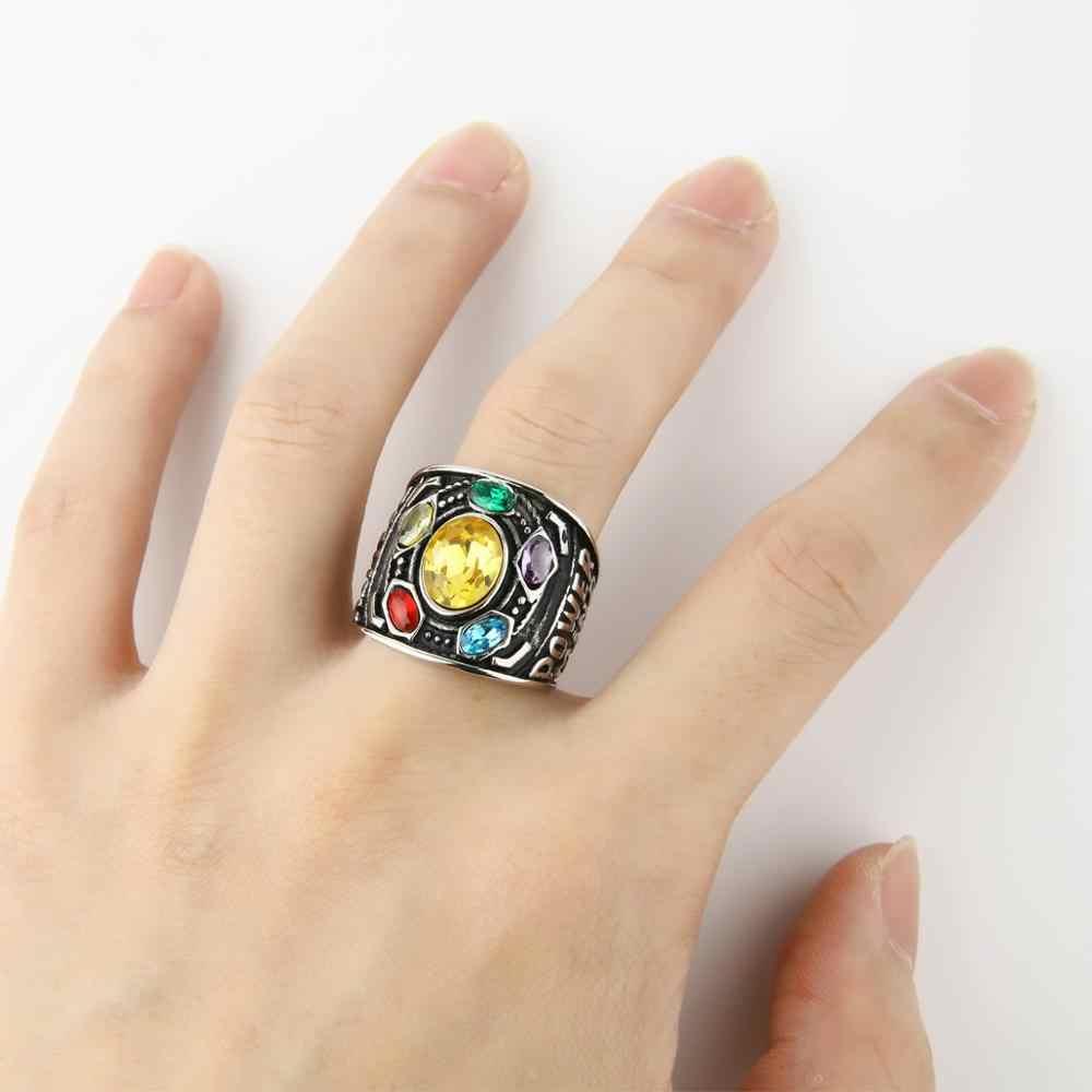Anel de cristal de aço inoxidável para homem super-herói anéis de aço inoxidável