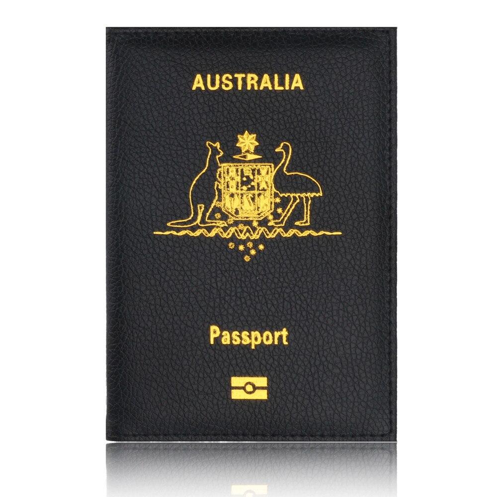 High Quality Fashion Passport Holder PU Leather Australia Letter Women Girl Protector Wallet Business Card Soft Porta Passaporte