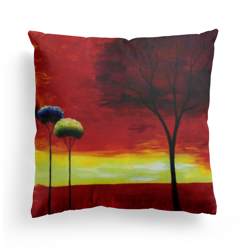 4Pcs Printed Cushion Cover for Sofa Car Chair Seat Cushion Pillow Cover Throw Pillowcase Tree Decorative Cushion Cover 45 45cm in Cushion Cover from Home Garden