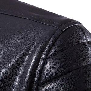 Image 5 - Puff sleeve negócios casual casaco de couro nova moda inverno jaquetas de couro fino ajuste masculino clássico jaqueta de couro M 5XL tamanho