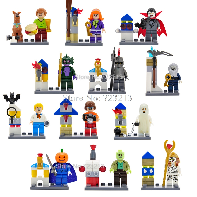 6pcs/lot Scooby Doo Figure Shaggy Vampire Daphne Fred Ghost Zombie Halloween Building Blocks Sets Models Toys for Children
