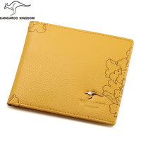 KANGAROO KINGDOM luxury women wallets genuine leather slim bifold wallet brand lady small purse